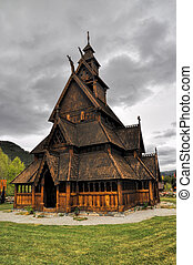 Gol, wooden church in Norway - Scenic front view of Gol,...