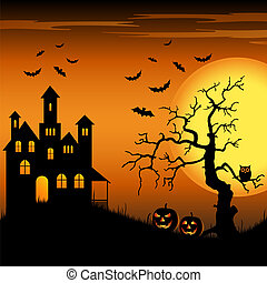 Halloween haunted castle with bats and tree background...