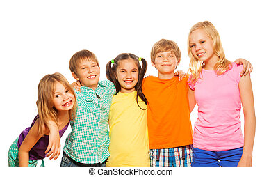 Waist up photo of five funny kids standing together hugging...