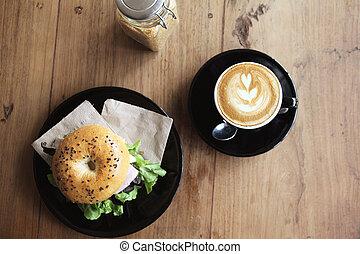 bagel, café