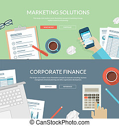 Marketing and finance concepts - Set of flat design concepts...
