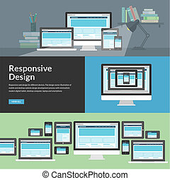 Responsive web design for different devices. Flat design...