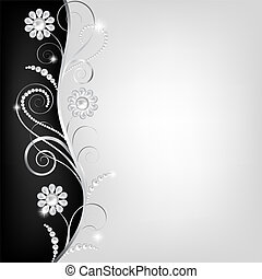 border with pearls - Card with jewelry floral decorative...