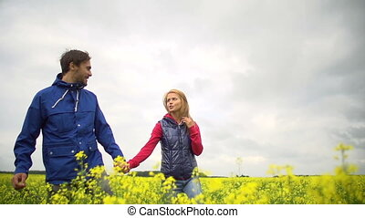 Spectacular View - Lovers flirting in the field