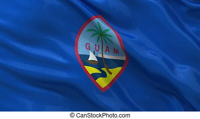 Flag of Guam seamless loop - Flag of Guam gently waving in...