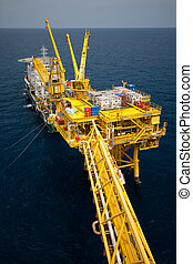 Barge installation platform in offshore oil and gas...