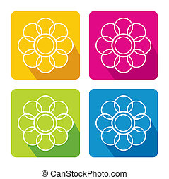 Flower icon set - abstract vector illustration