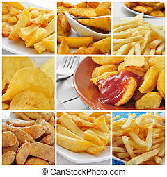 fried potatoes collage - a collage of some pictures of...