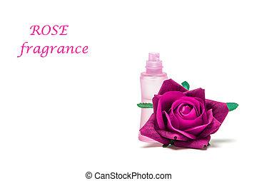 Rose fragrance - Perfume bottle with rose flower on white...