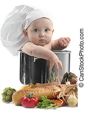 Cute Chubby Baby Chef in a Cooking Pot With Vegetables Image...