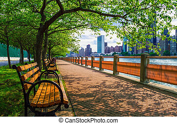 Summer View East River - A walking path along the East River...