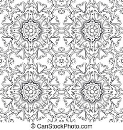 Abstract pattern, contours - Abstract floral pattern, black...