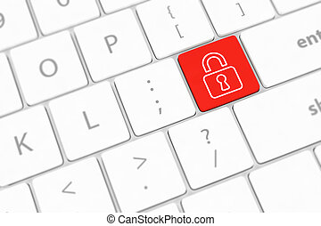 enter button with Closed Padlock on computer keyboard background