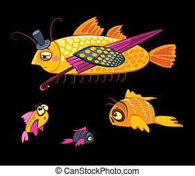 cartoon characters, dandy fish with umbrella and three small...