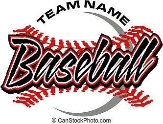 baseball design with red stitches