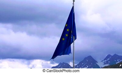 EU flag slowmotion with alp
