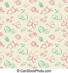 Vector seamless tiling pattern with hand drawn butterflies...