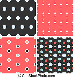 Vector seamless poka dot tiling patterns. For printing on...