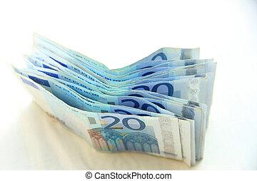 20 euro banknotes - stacked 20 euro banknotes on white...
