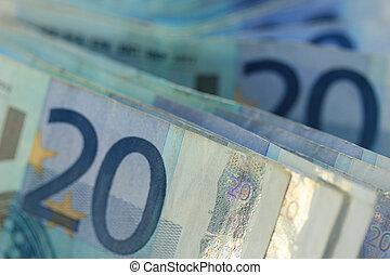 20 euro banknotes - Close up of stacked 20 euro banknotes