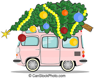 Christmas car - Car with christmas tree