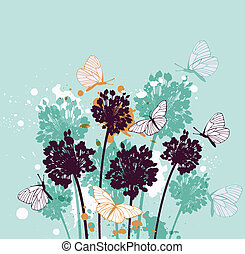 Background with butterflies and wildflowers - Green...