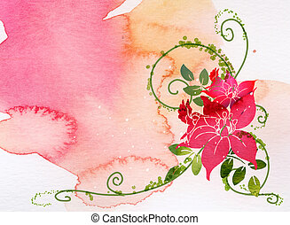 watercolor of flower - watercolor of red flower with green...
