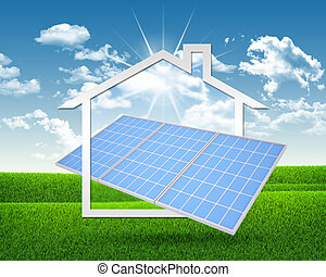 Solar battery and symbol of house. Green grass and blue sky...