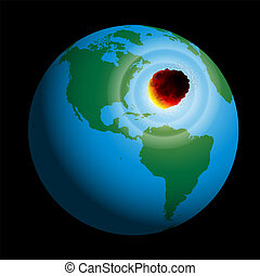 Earth Comet - A comet hits planet earth. Vector illustration...