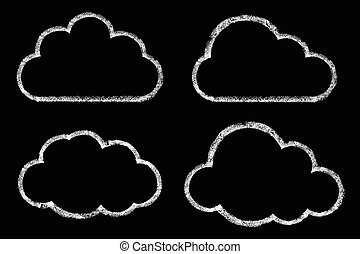 cloud drawing with chalk on a black background