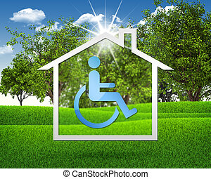 House icon with handicap symbol. Green grass and blue sky as...