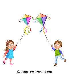Kids playing with kite. - Cartoon kids playing with kite.