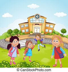 Group of School Children - Illustration of a Group of School...