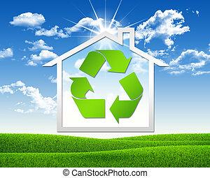 casa, Símbolo, reciclagem, ícone