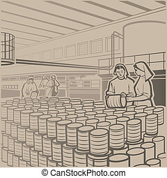 Cannery - Workers carefully checking the products at the...