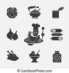 mono food1 - Set of monochrome food icons with chef chicken...