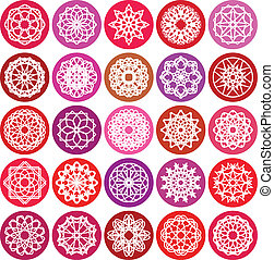 Round Ornament Set - Color round east ornament set. Vector...