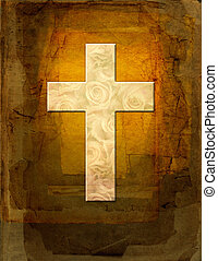 crucifix - A bright floral cross on pressed paper