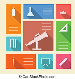 Colored vector icons for school supplies with place for text...