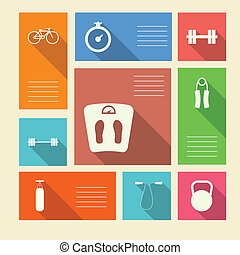 Colored vector icons for sport with place for text - Square...