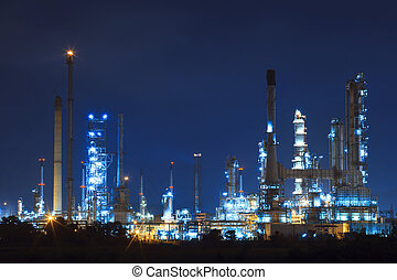 lighing landscape of oil refinery petrochemical in heavy...