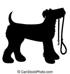 AIredale Terrier Leash - A cartoon black silhouette of an...