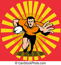 Rugby player fend off front - Illustration of a rugby player...