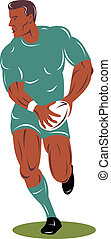 Rugby player run up front - Illustration of a rugby player...