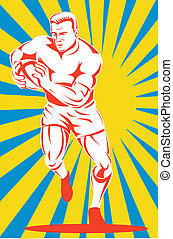 Rugby player running with ball front on - Illustration of a...