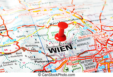 wien ,austria map - Close up of Wien , Austria map with red...