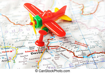 Davos,Swiss map airplane - Close up of Davos, Swiss map with...
