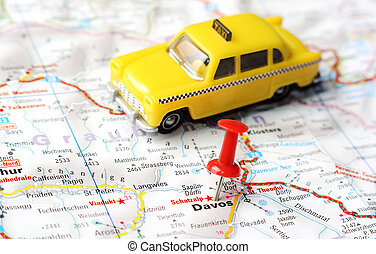 Davos,Swiss map taxi - Close up of Davos, Swiss map with red...