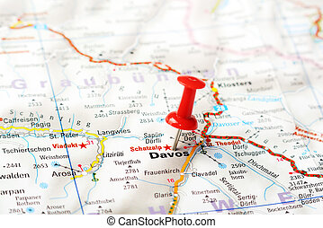 Davos,Swiss map - Close up of Davos ,Swiss map with red pin...