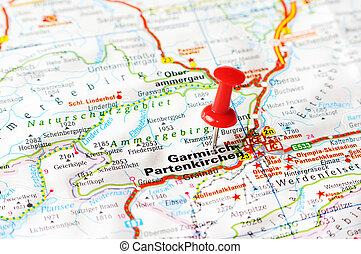Garmisch Partenkirchen ,austria map - Close up of Garmisch...